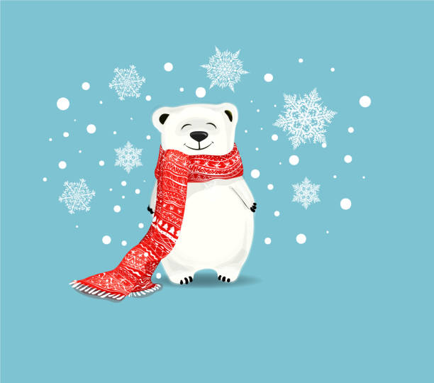 Cute little polar bear with red scarf on blue background with snowflakes. Polar bear  cute cartoon character.New-Year and Christmas concept.White bear with red scarf,perfect for greeting card christmas fun stock illustrations