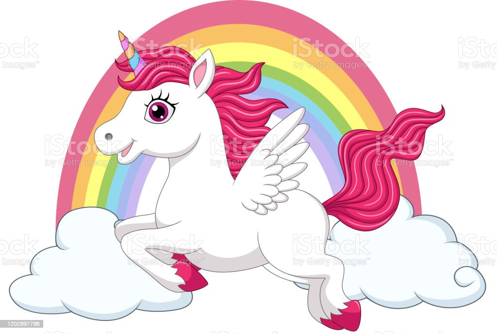 Cute Little Pony Unicorn With Wings On Clouds And Rainbow Stock ...