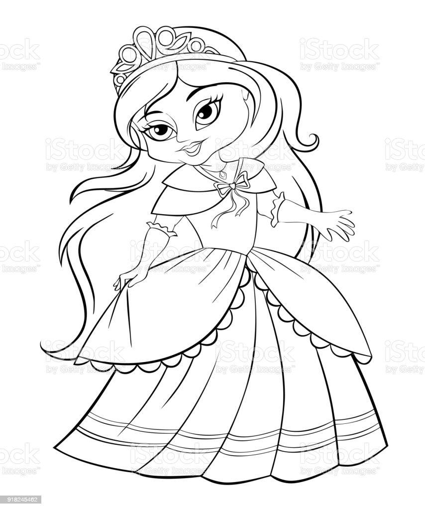 Sevimli Küçük Prenses Boyama Kitabı Için Siyah Ve Beyaz Resim Stok