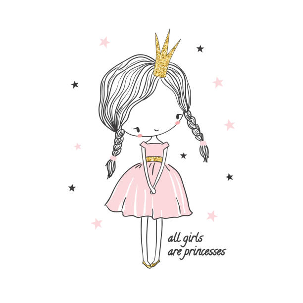 illustrazioni stock, clip art, cartoni animati e icone di tendenza di cute little princess girl. fashion illustration for kids - principessa