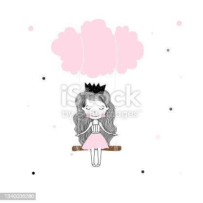 istock Cute little Princess girl in pink with swinging on a cloud cartoon style. t-shirt print, wall art, poster vector design 1340035280