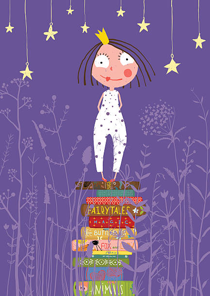cute little princess girl standing on stack of books in - bedtime story stock illustrations