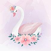 istock cute Little Princess Swan with Flower bouquet. 1139280471