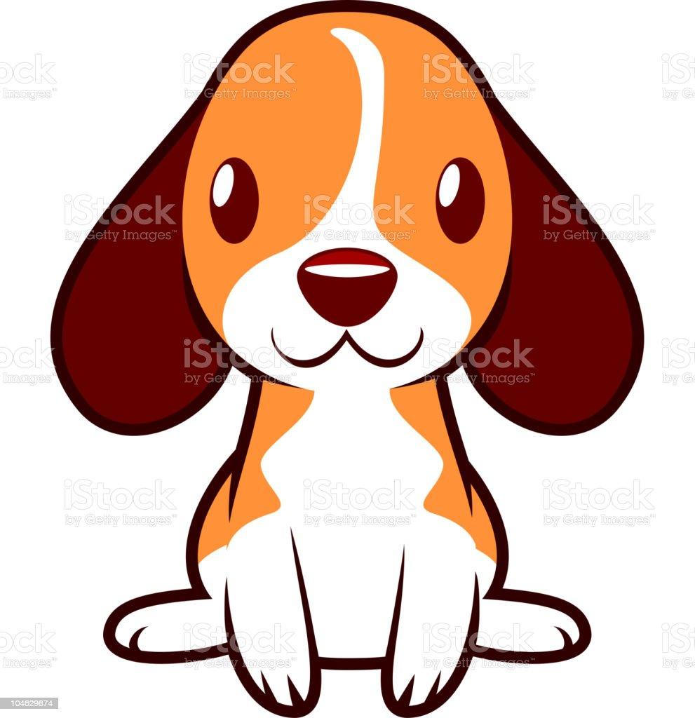Linda pequeño cachorro Perro feliz de pie y sonriendo - ilustración de arte vectorial