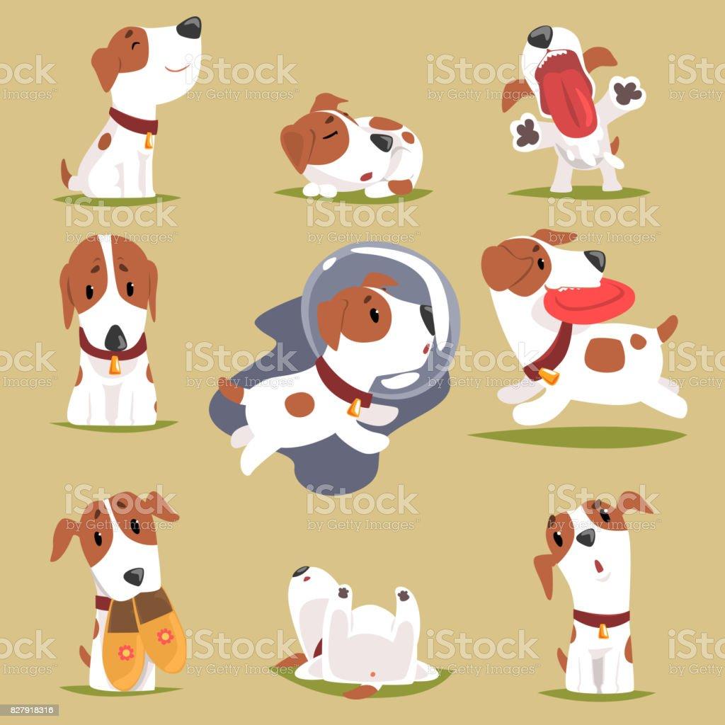 Niedlichen Welpen in seiner Evereday Tätigkeit gesetzt, Hunde tägliche Routine lustigen bunten Charakter – Vektorgrafik
