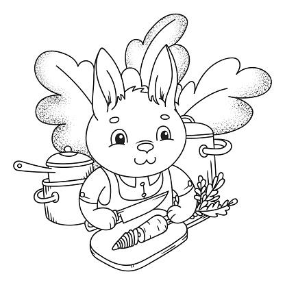 Cute little rabbit cutting a fresh carrot