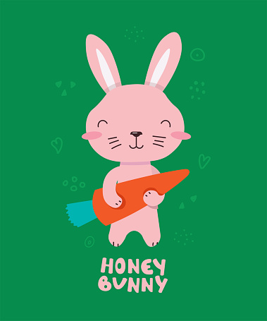 Cute little rabbit smiling. Text Honey Bunny. Animal kingdom set. Super-kawaii and adorable animals. Cartoon character and lettering. Flat illustration for kid's poster, t-shirt and other art.