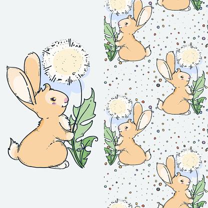 Cute little rabbit with dandelion, cartoon hand drawn vector seamless pattern