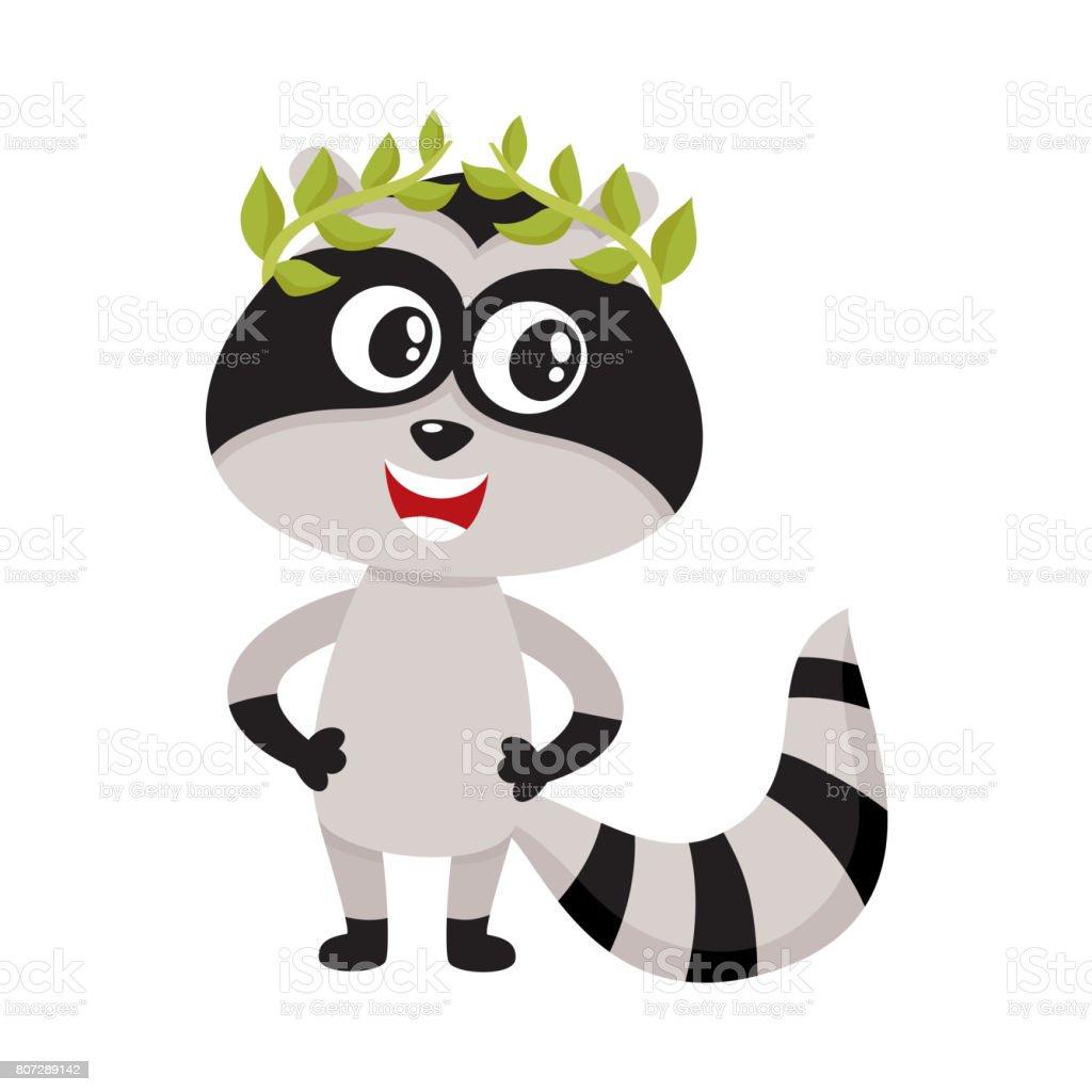 かわいい小さなアライグマ文字チャンピオン勝者月桂樹のリースに立って