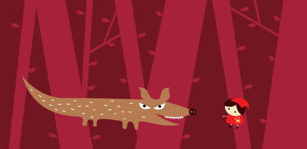 niedlichen kleinen roten Reiten, Kapuze und großen schwarzen Wolf Vektor – Vektorgrafik