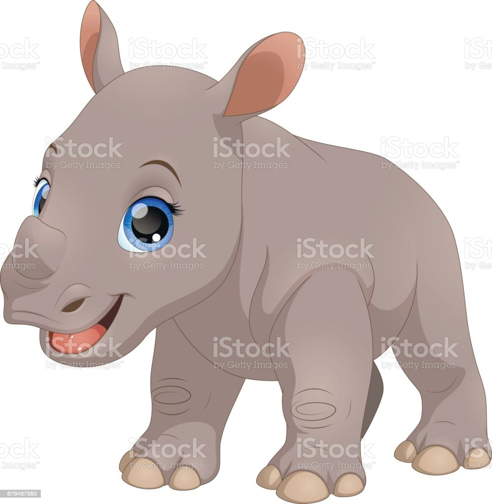 Cute little rhino vector art illustration