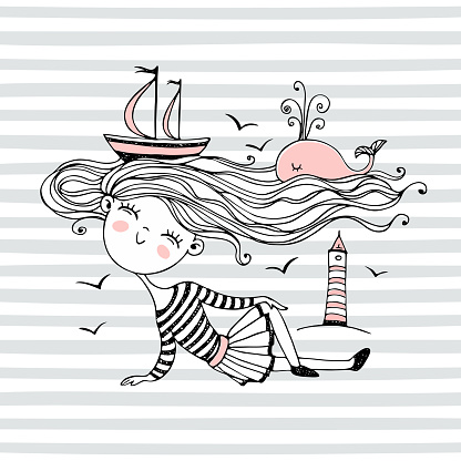 Cute little sailor girl. With an ocean of hair on which Ships and a whale swim. Vector.