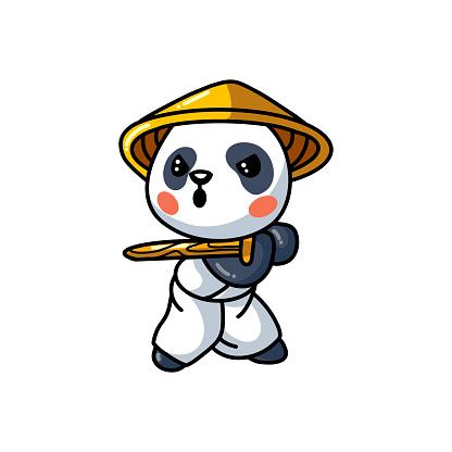 Cute little samurai panda cartoon
