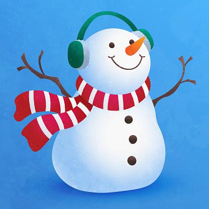 Cute little snowman flat cartoon for Christmas decoration