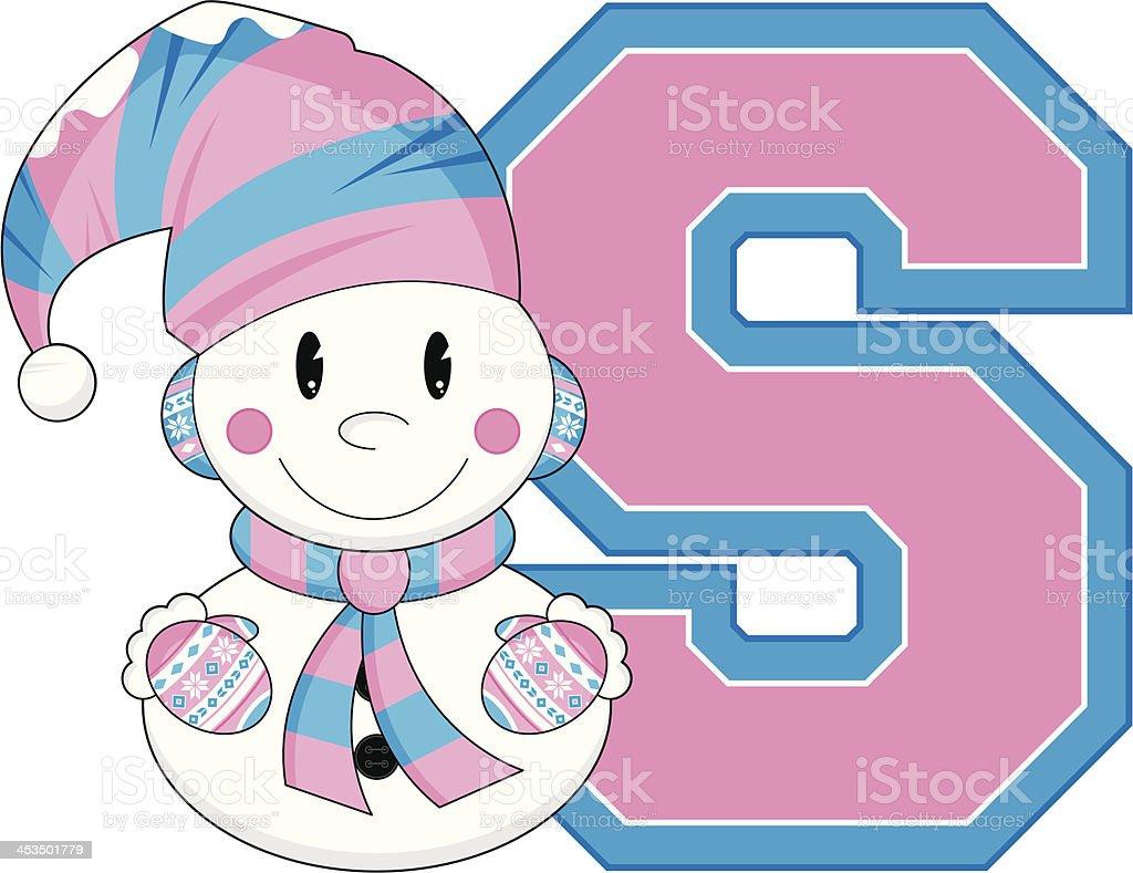 Cute Little Snowman Learning Letter S royalty-free stock vector art
