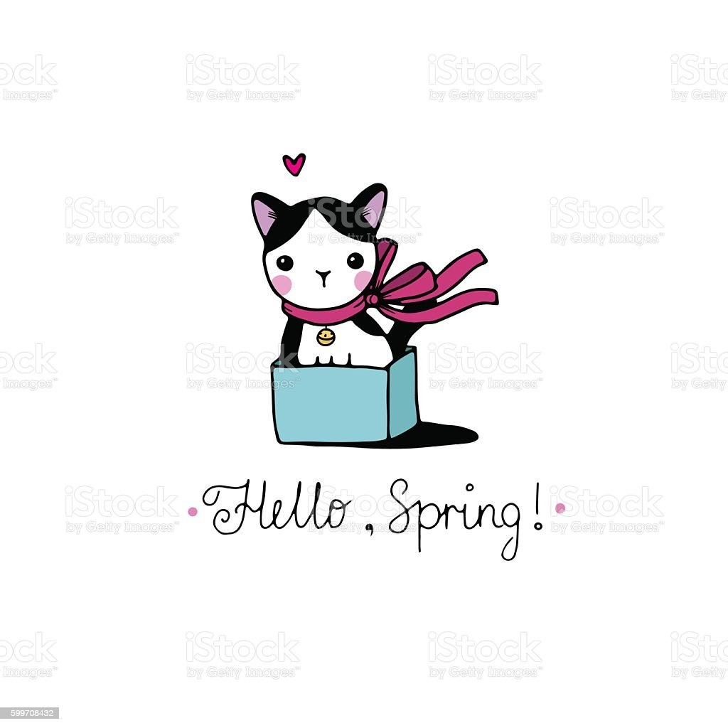 Cute little spotted cat in the box. vector art illustration