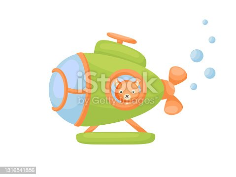 istock Cute little squirrel sail on green submarine. Cartoon character for childrens book, album, baby shower, greeting card, party invitation, house interior. Vector stock illustration. 1316541856