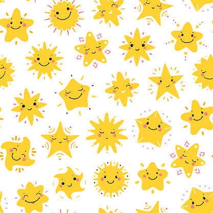 Cute Little Stars Vector Seamless Pattern. Sky Background with Kawaii Smiling Star Icons for Kids Fashion, Nursery, Baby Shower Scandinavian Design