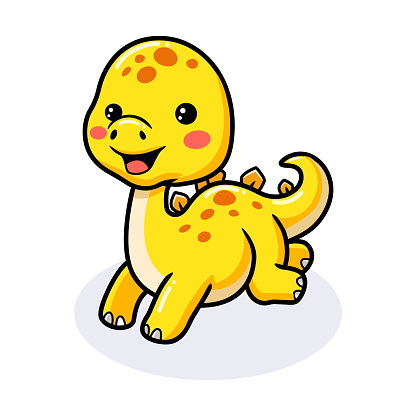 Cute little stegosaurus cartoon running