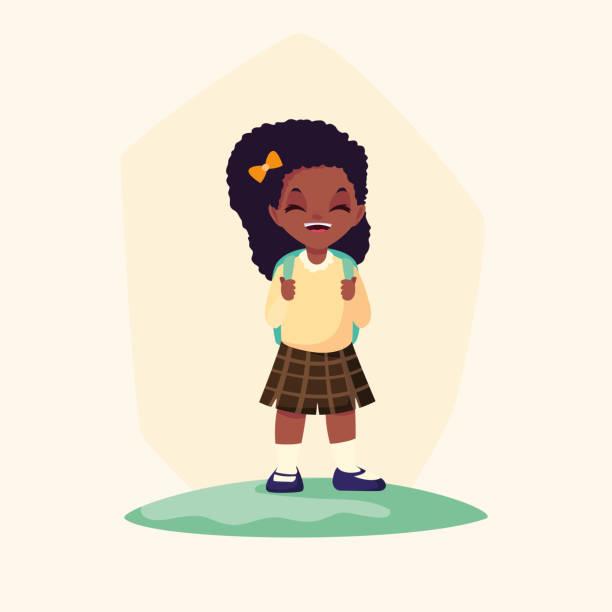 stockillustraties, clipart, cartoons en iconen met schattige kleine student meisje afro avatar karakter - schooluniform