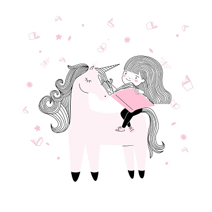 Cute little Student girl read a book in pink and with on a unicorn horse cartoon style. t-shirt print, back to school, wall art poster vector design
