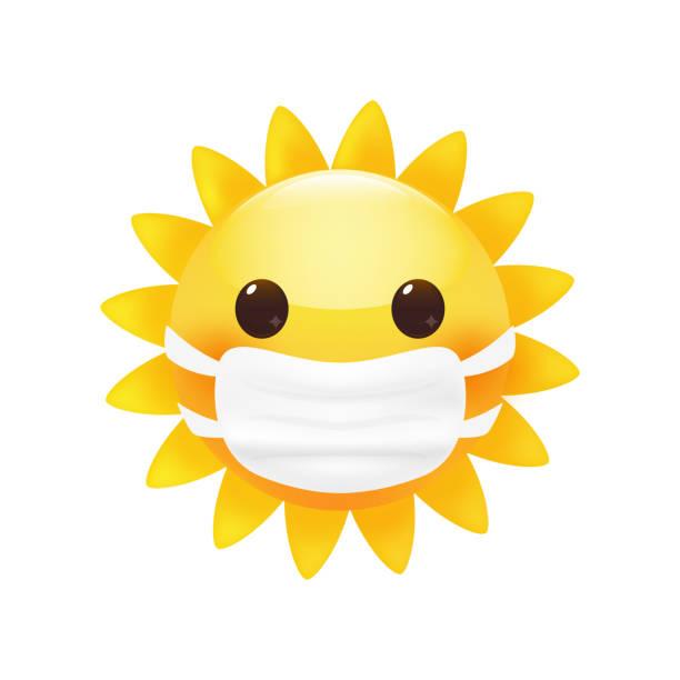 Cute little sun in a face protective mask. Premium vector. Cute little sun in a face protective mask. Anti virus concept. Bright cartoon style. Premium vector. corona sun stock illustrations
