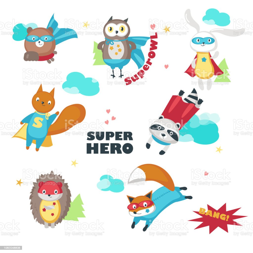 Cute little superhero animals vector isolated illustration vector art illustration