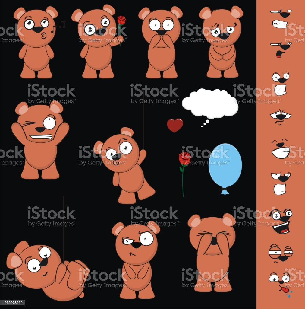 cute little teddy bear expressions set royalty-free cute little teddy bear expressions set stock vector art & more images of anger