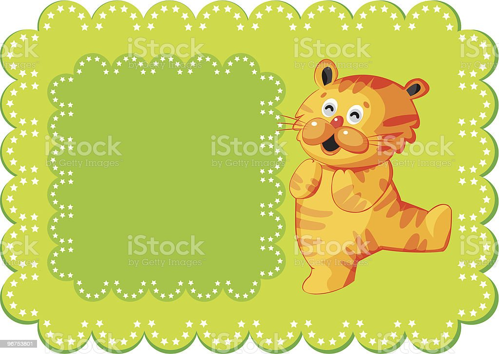 Cute Little Tiger Frame Background royalty-free stock vector art