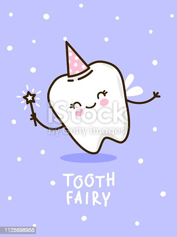 Cute tooth in the image of fairies on a purple background