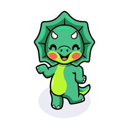 Cute little triceratops dinosaur cartoon posing