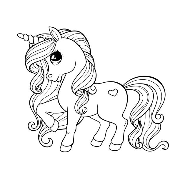 61 Beautiful Princess And Her Horse Coloring Book Page Illustrations Clip Art Istock