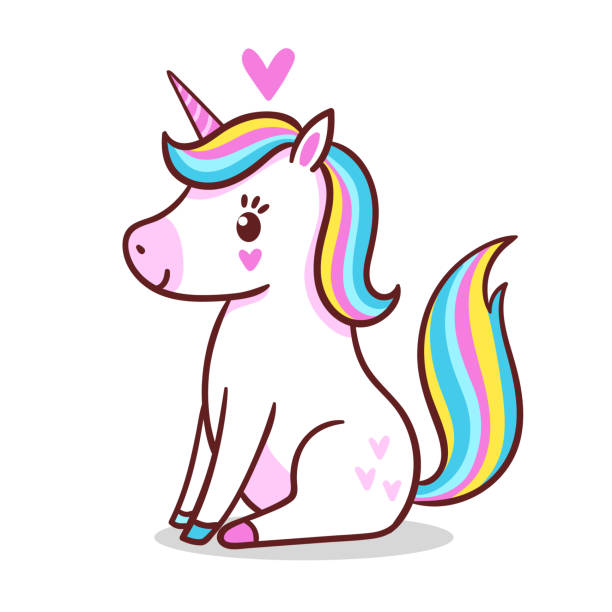 A cute little unicorn is sitting on a white background. A cute little unicorn is sitting on a white background. Vector illustration with cute mythical animal in cartoon style. unicorn stock illustrations