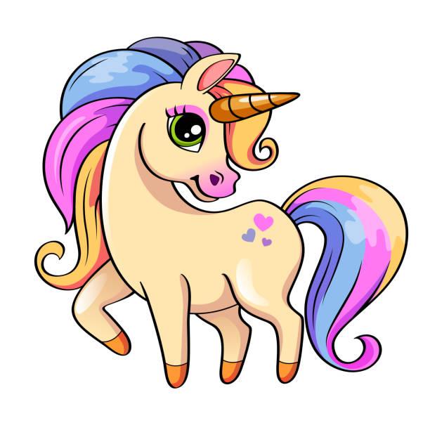cute little unicorn. vector illustration isolated on white background - unicorns stock illustrations