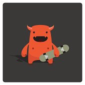 istock Cute Little Vector Devil Skater Character Holding Skateboard 124876751