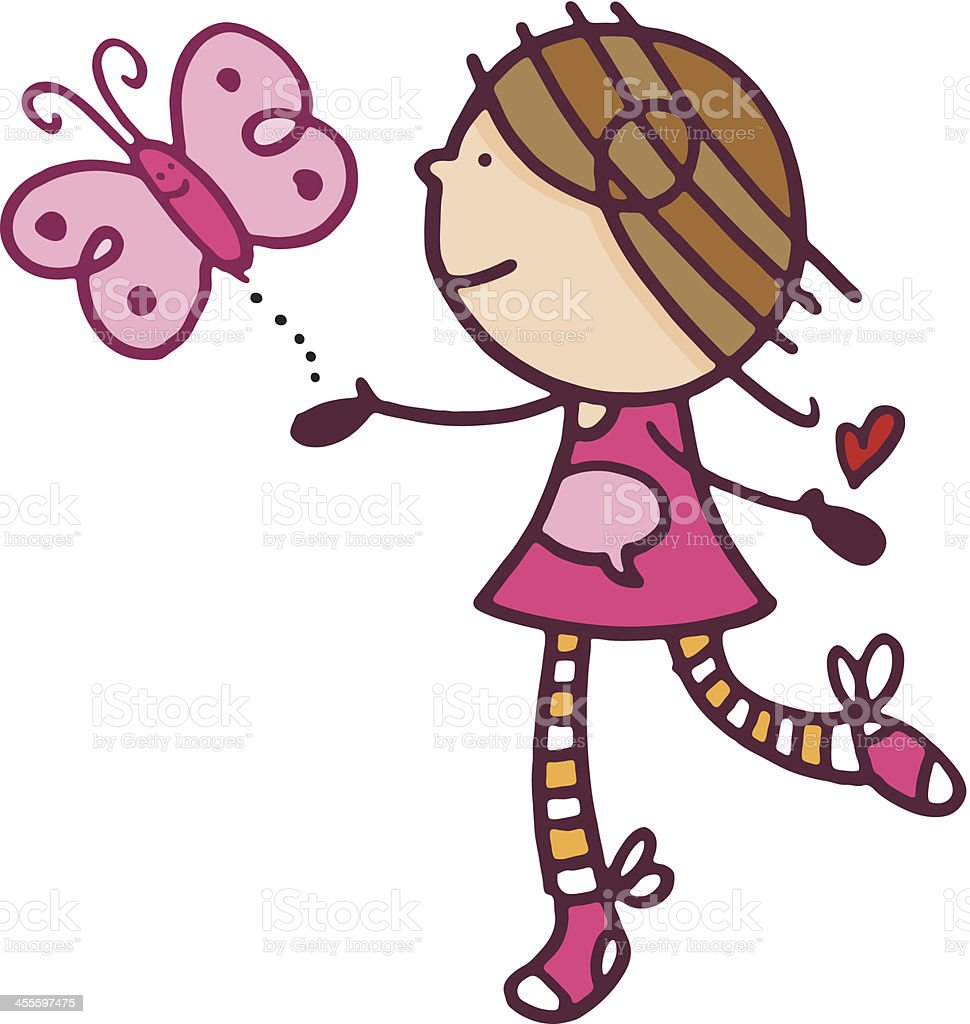 Cute little vector girl illustration with butterfly royalty-free stock vector art