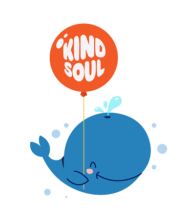 Cute little whale smiling and holding red balloon. Text Kind soul. Animal kingdom set. Super-kawaii and adorable. Cartoon character and lettering. Flat illustration for kid's poster, t-shirt other art