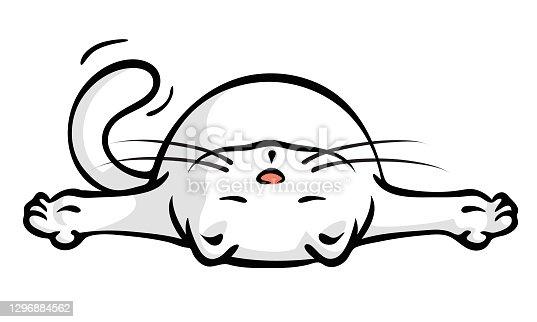 istock Cute Little White Cat Lying Flat Sad And Depressed 1296884562