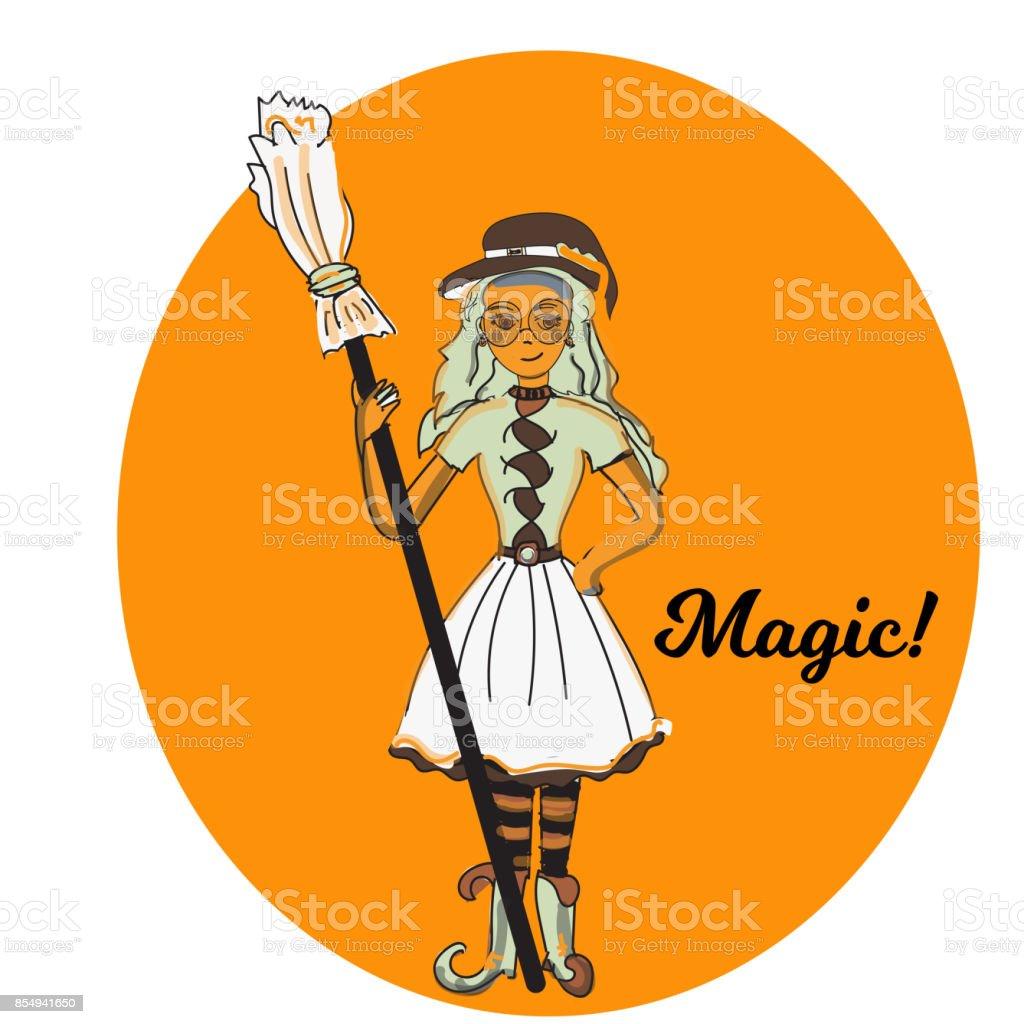 Mignonne Petite Sorcière Dessin Animé Magique Jeune Fille