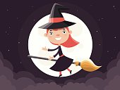 Cute Little Witch Flying on a Broom