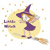 Cute little witch flying.