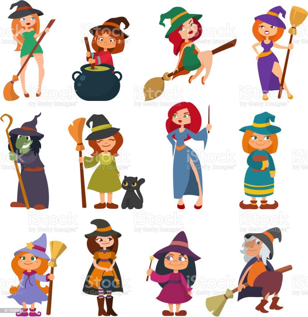Cute little witch hag harridan vixen with broom cartoon magic Halloween young girls character costume hat vector illustration