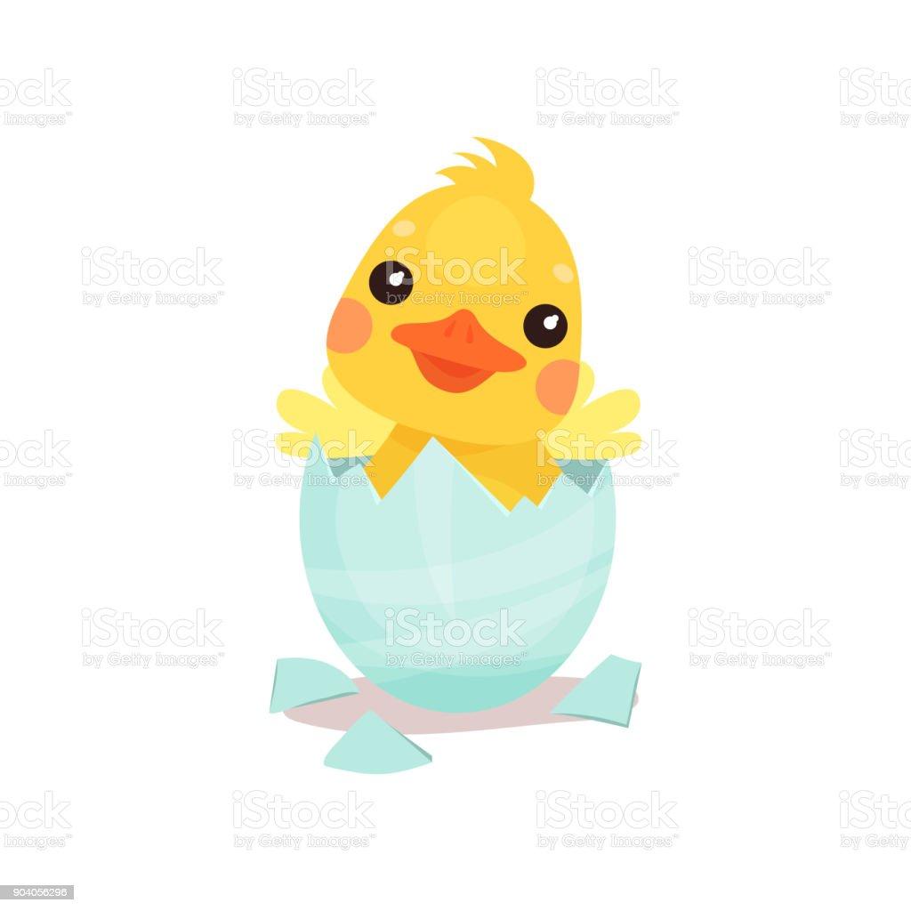 卵漫画ベクトル図から孵化かわいい黄色いアヒルのひよこ