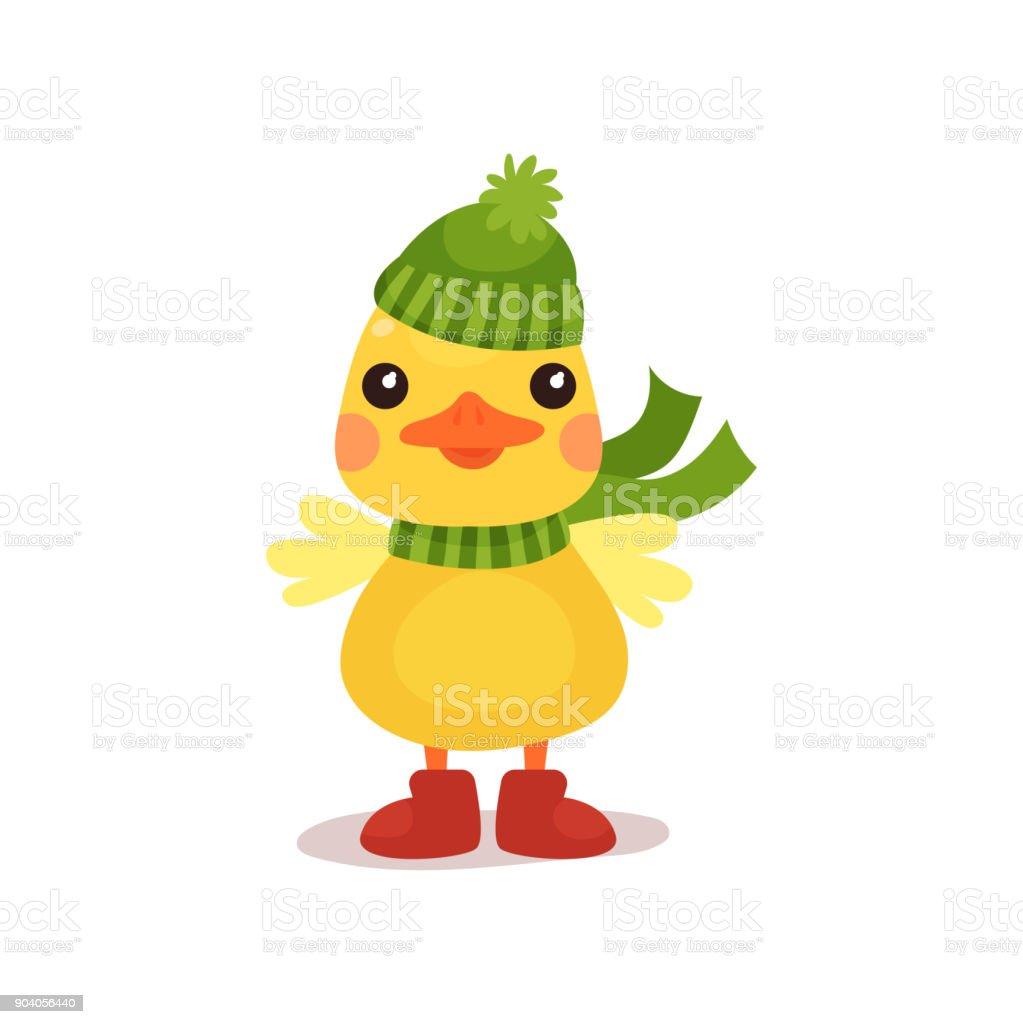 緑のニット帽子とスカーフ漫画ベクトル イラストかわいい黄色いアヒルの
