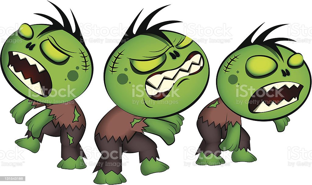 Cute Little Zombies royalty-free stock vector art
