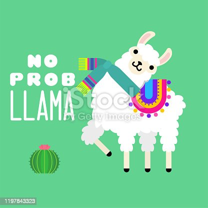 Cute llama alpaca vector graphic design with an inscription quote no prob llama. Llama character illustration for nursery design, poster, greeting, birthday card, baby shower design and party decor