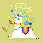Cute llama alpaca with colorful spring flowers. Llama character illustration for nursery design, poster, greeting, birthday card, baby shower design and party decor