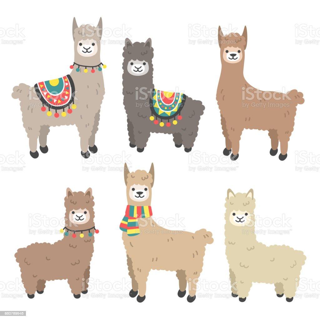 cute llama and alpaca set stock vector art & more images of alpaca