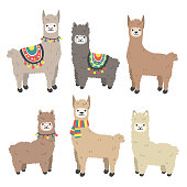 Cute llama and alpaca set