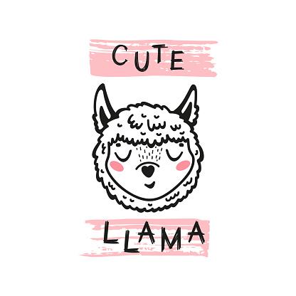 Cute Llama Face. Funny Alpaca Head for Tee Print Design for Kids. Vector Cartoon Little Baby Animal. Scandinavian Card, Print or Poster Design